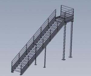 escalier metal en 3d